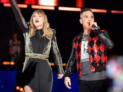 Taylor Swift brings out Robbie Williams on stage for powerful Angels duet