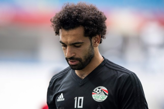 Egypt's Mohamed Salah trains with his team at the Volgograd Arena in Volgograd on June 24, 2018, on the eve of their Group A match against Saudi Arabia during the Russia 2018 World Cup football tournament. / AFP PHOTO / NICOLAS ASFOURINICOLAS ASFOURI/AFP/Getty Images