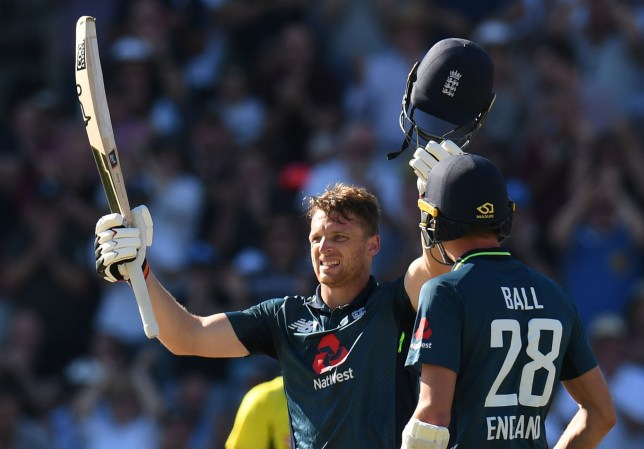 England's Jos Buttler celebrates his century during the fifth One Day International (ODI) cricket match between England and Australia at Old Trafford cricket ground in Manchester, northwest England on June 24, 2018. / AFP PHOTO / OLI SCARFF / RESTRICTED TO EDITORIAL USE. NO ASSOCIATION WITH DIRECT COMPETITOR OF SPONSOR, PARTNER, OR SUPPLIER OF THE ECBOLI SCARFF/AFP/Getty Images