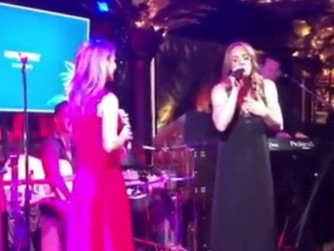 When 5 become 2: Mel C and Geri Horner hold mini-Spice Girls reunion as they perform together