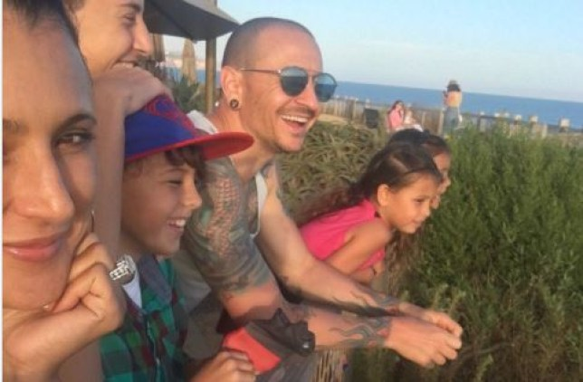 Chester Bennington smiling with family