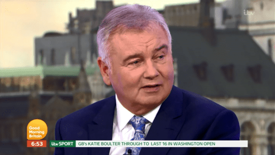 Eamonn Holmes wasn't too happy when his wife managed to mug him off on GMB today, quite literally (Picture: ITV)