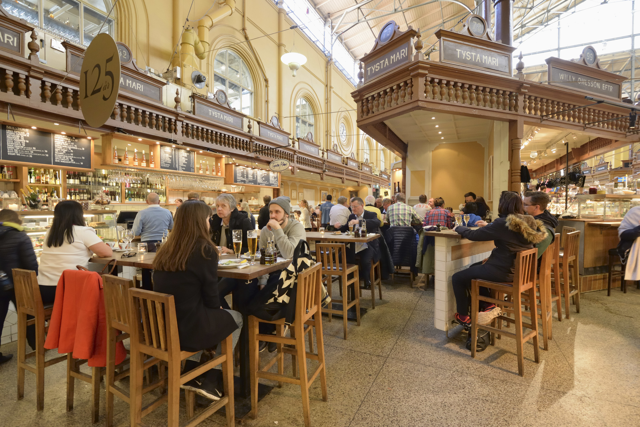 Food market and restaurants at the Ostermalms Saluhall