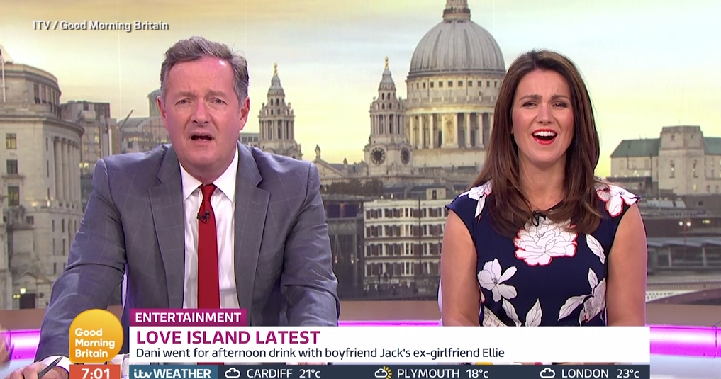Piers seemed to forget who he was talking about when he slammed Dani Dyer and Jack Fincham as fakes Picture: ITV)