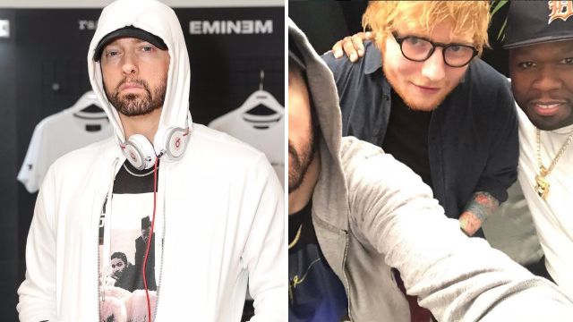 Eminem fails to make final cut of 'legendary' selfie with Ed Sheeran and 50 Cent