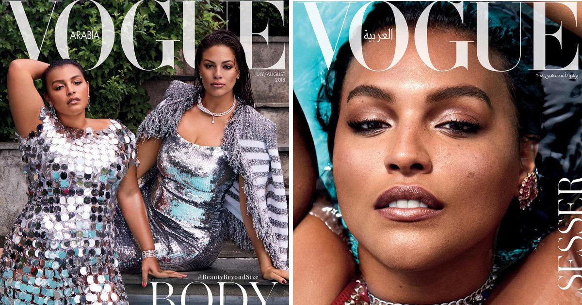 Vogue Arabia's first plus size cover features Ashley Graham and Paloma Elessor