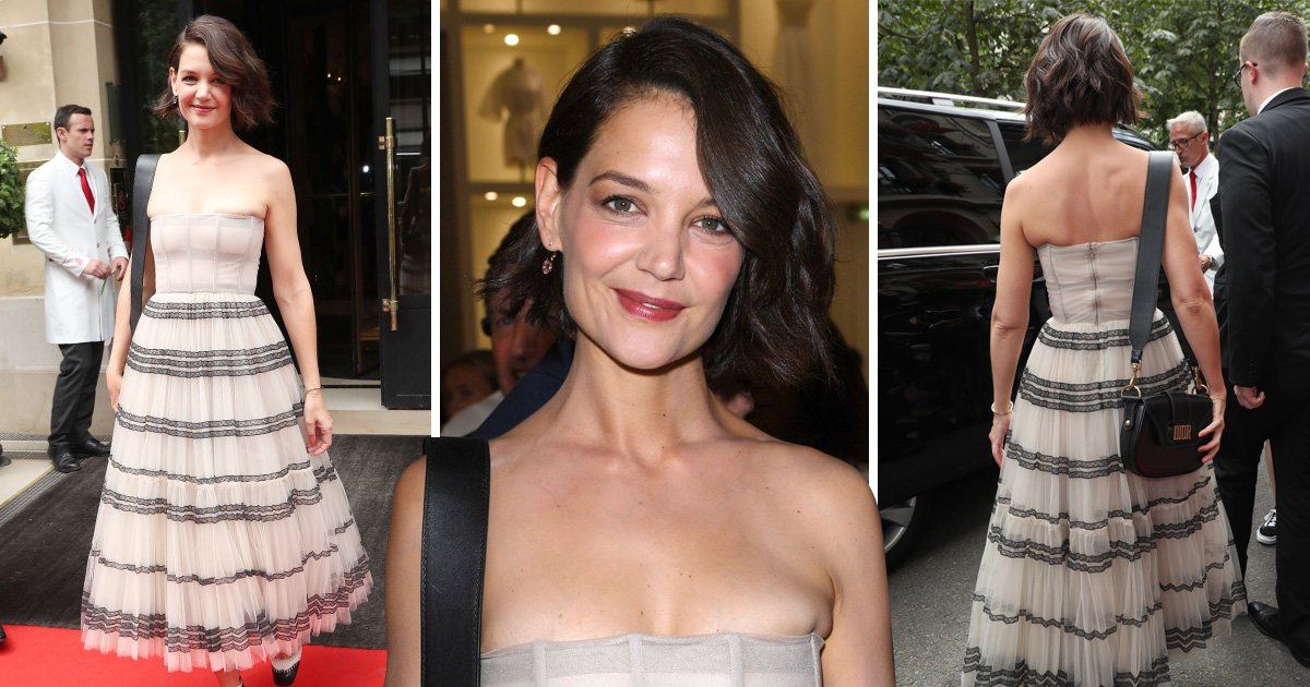 Katie Holmes is seen leaving her hotel in Paris to go to the Dior fashion show