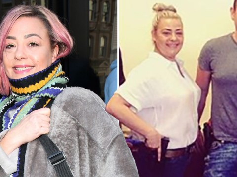 Lisa Armstrong poses with a gun as she leaves Ant McPartlin dramas at home during LA trip