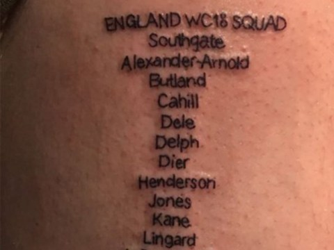 England superfan gets all 23 squad members tattooed onto his body