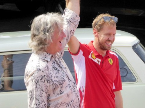 Richard Hammond and James May have a car showdown with Sebastian Vettel at a petrol station