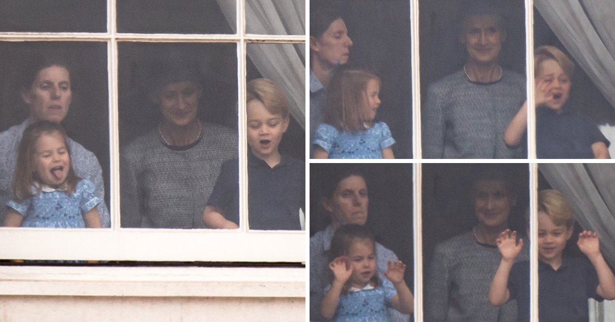 Princess Charlotte sticks out tongue to royal fans during RAF flypast