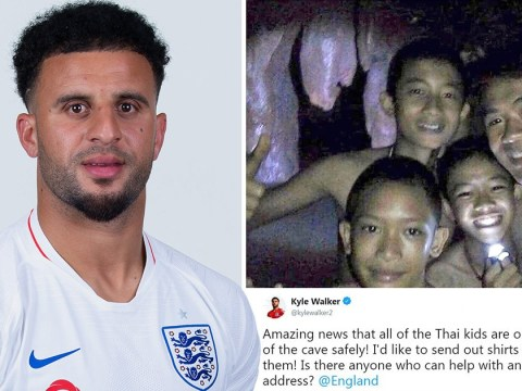 Kyle Walker wants to send England shirts to the 12 boys rescued from Thai cave