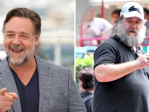 Russell Crowe forgot his facial brush as he's spotted sporting huge unkempt beard