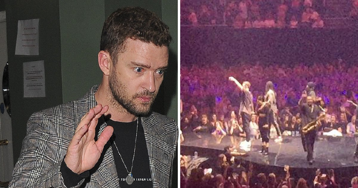 Justin Timberlake pauses London show to commiserate with fans over England loss with shots