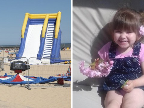 Man and woman arrested over death of girl, 3, thrown from inflatable trampoline