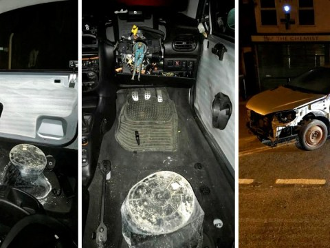 Motorist caught driving with no steering wheel and using a bucket for a seat