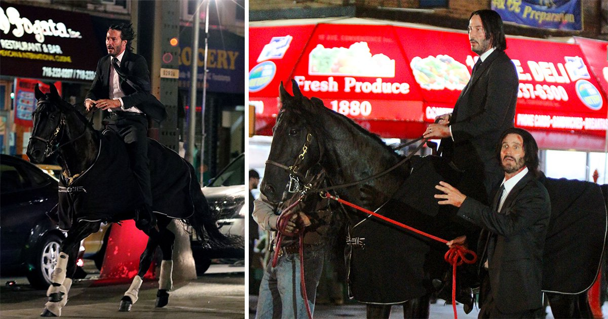 Keanu Reeves horses around on set of John Wicks 3 as he films own stunts