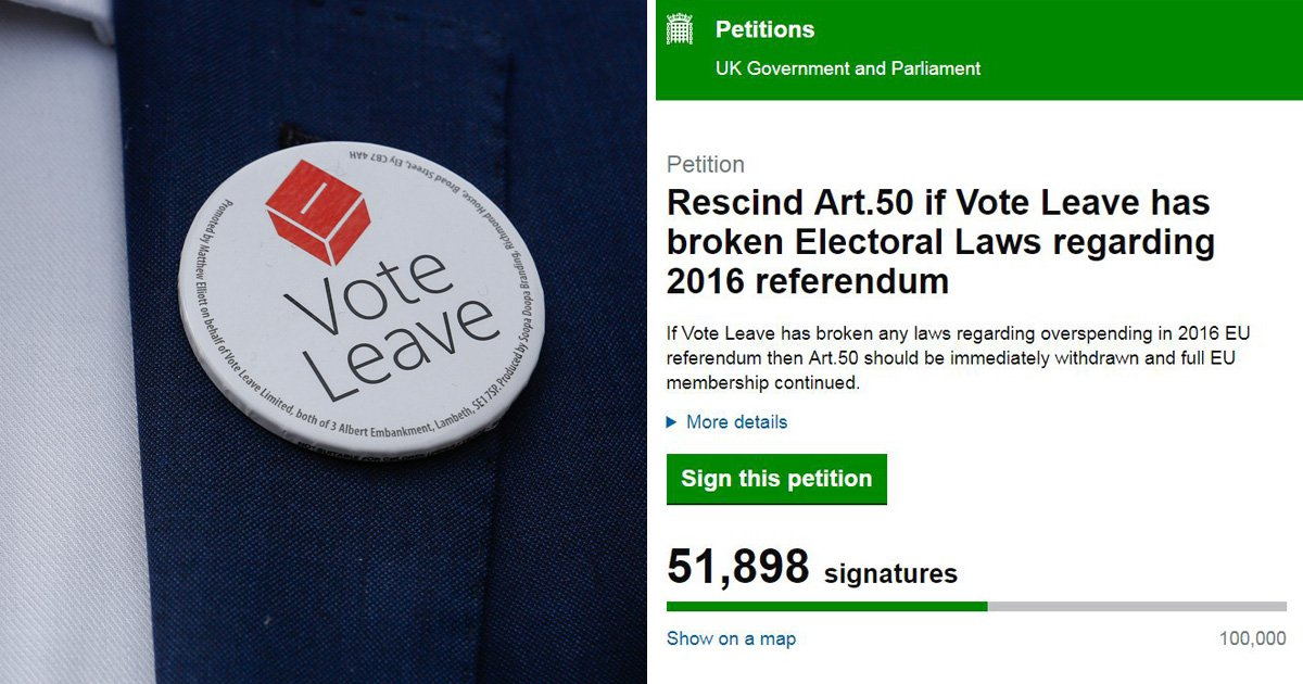 Petition to cancel Brexit grows after Vote Leave was found to have 'cheated'