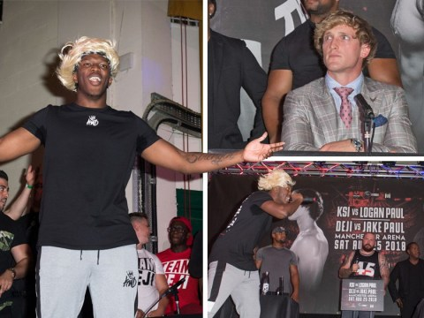 Logan Paul storms out of press conference after KSI rips into his 'disgusting' dad and girlfriend Chloe Bennet