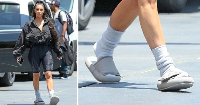 5e2154928cbb Kim Kardashian determined to make socks and slides happen as she heads to  pop-up diner