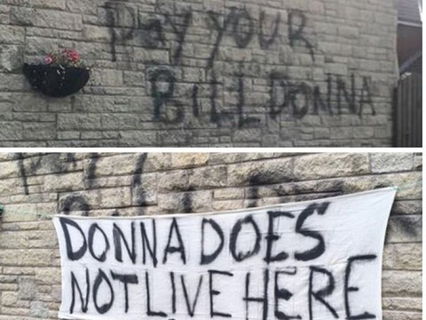 Someone painted 'pay your bill Donna' on a man's house – but he isn't Donna
