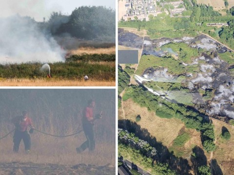 Utter devastation after grass fire 'size of four football pitches' rages near hospital