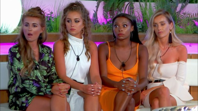 After the public vote islanders are told that they must choose from the remaining three couples who to send home on 'Love Island'. Broadcast on ITV2 Featuring: Laura Anderson, Dani Dyer, Samira Mighty, Georgia Steel When: 27 Jun 2018 Credit: Supplied by WENN **WENN does not claim any ownership including but not limited to Copyright, License in attached material. Fees charged by WENN are for WENN's services only, do not, nor are they intended to, convey to the user any ownership of Copyright, License in material. By publishing this material you expressly agree to indemnify, to hold WENN, its directors, shareholders, employees harmless from any loss, claims, damages, demands, expenses (including legal fees), any causes of action, allegation against WENN arising out of, connected in any way with publication of the material.**