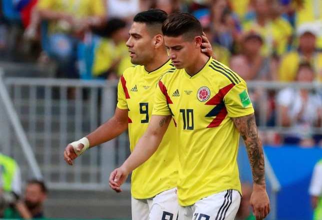 EFE via PA Images Colombian midfielder James Rodriguez (R), next to teammate, Colombian forward Radamel Falcao, leaves the field after being substituted during the FIFA World Cup 2018 Group H soccer match between Senegal and Colombia, in Samara, Russia, 28 June 2018.