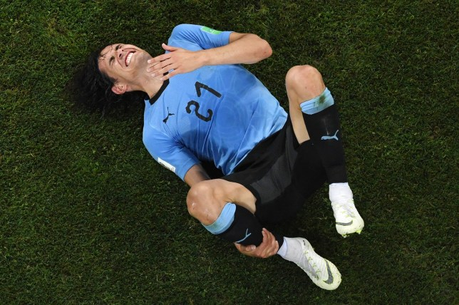 TOPSHOT - Uruguay's forward Edinson Cavani reacts after being fouled during the Russia 2018 World Cup round of 16 football match between Uruguay and Portugal at the Fisht Stadium in Sochi on June 30, 2018. (Photo by Kirill KUDRYAVTSEV / AFP) / RESTRICTED TO EDITORIAL USE - NO MOBILE PUSH ALERTS/DOWNLOADS (Photo credit should read KIRILL KUDRYAVTSEV/AFP/Getty Images) *** BESTPIX ***