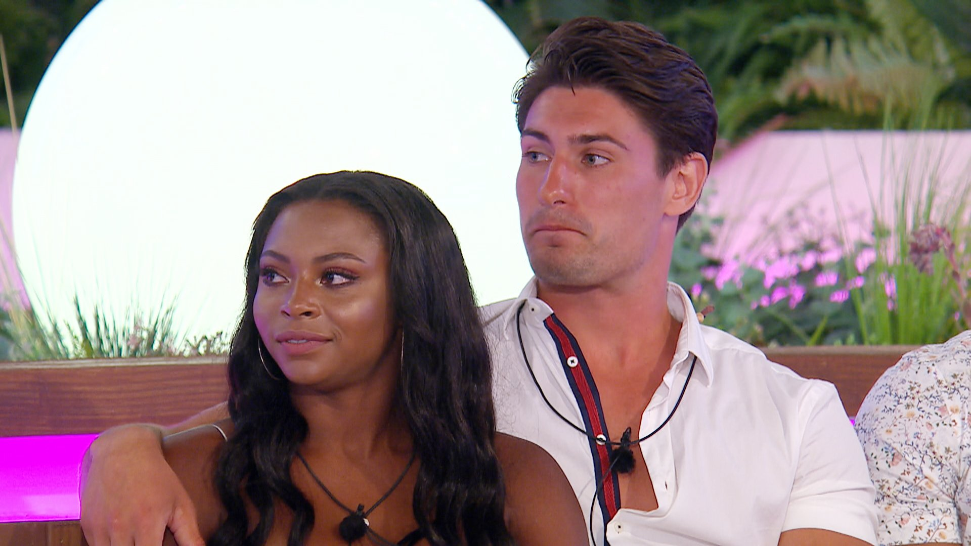 This image is strictly embargoed until 22.30 Monday 2nd July 2018 From ITV Studios Love Island: SR4: Ep29 on ITV2 Pictured: Samira and Frankie. This photograph is (C) ITV Plc and can only be reproduced for editorial purposes directly in connection with the programme or event mentioned above, or ITV plc. Once made available by ITV plc Picture Desk, this photograph can be reproduced once only up until the transmission [TX] date and no reproduction fee will be charged. Any subsequent usage may incur a fee. This photograph must not be manipulated [excluding basic cropping] in a manner which alters the visual appearance of the person photographed deemed detrimental or inappropriate by ITV plc Picture Desk. This photograph must not be syndicated to any other company, publication or website, or permanently archived, without the express written permission of ITV Plc Picture Desk. Full Terms and conditions are available on the website www.itvpictures.co.uk For further information please contact: james.hilder@itv.com / 0207 157 3052
