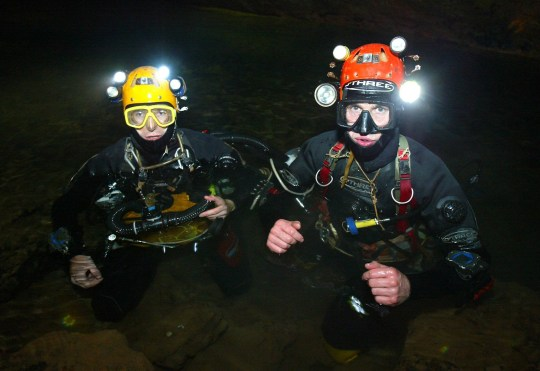 FILE PHOTO British divers Rick Stanton (right) and John Volanthen (left) See SWNS story SWDIVE; British divers were the first to reach twelve trapped schoolboy footballers in the waters of the cave system in Tham Luang, Thailand.
