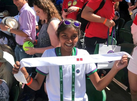 "Undated family handout photo of Mihika Joshi holding Roger Federer's headband, as the budding British tennis player has described the moment he gave it to her as a ""dream come true"". PRESS ASSOCIATION Photo. Issue date: Tuesday July 3, 2018. Mihika, 13, battled the crowds to make it to the autograph line after the 36-year-old?s first round win on Monday. See PA story SPORT Wimbledon Fan. Photo credit should read: Family handout/PA Wire NOTE TO EDITORS: This handout photo may only be used in for editorial reporting purposes for the contemporaneous illustration of events, things or the people in the image or facts mentioned in the caption. Reuse of the picture may require further permission from the copyright holder."