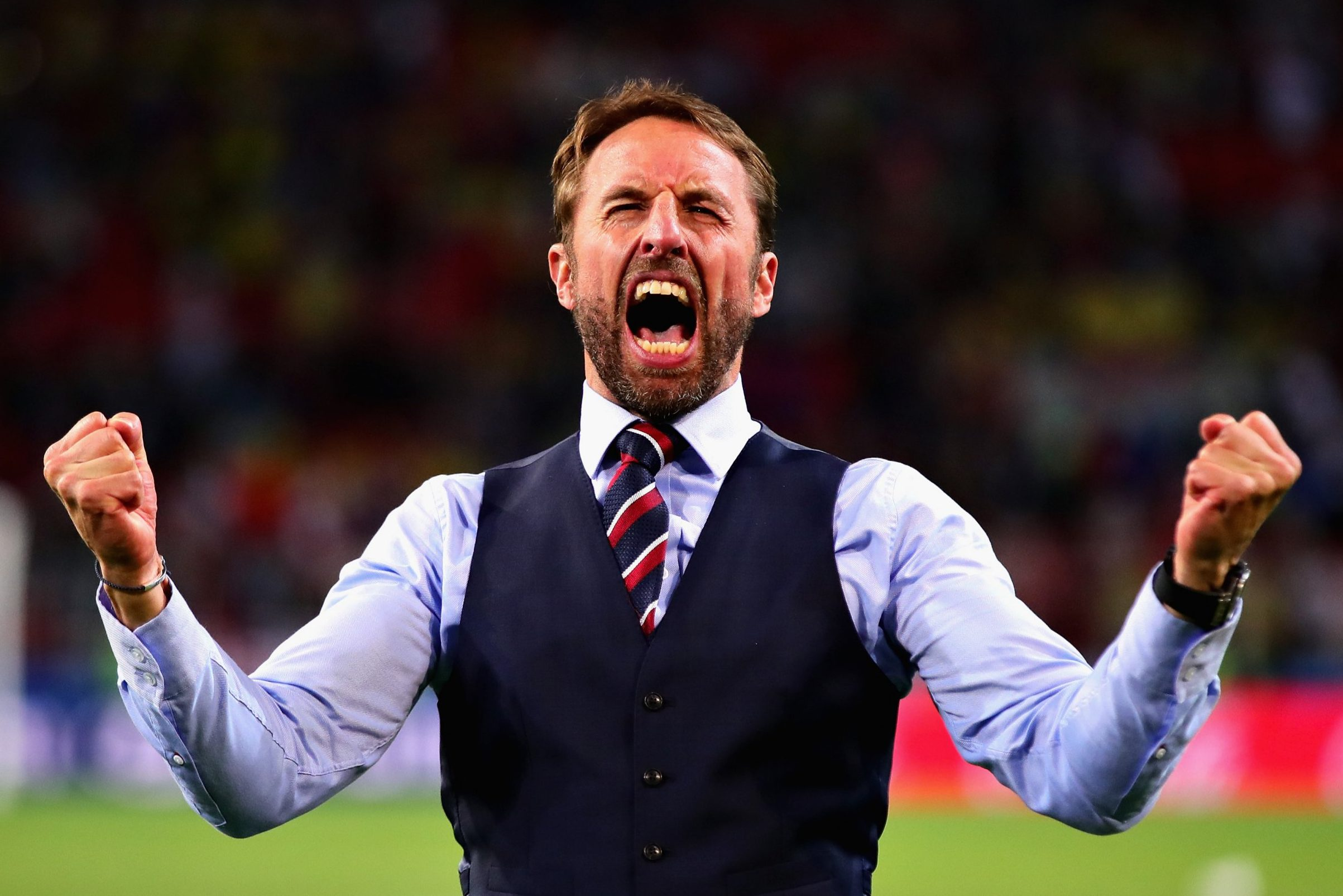 MOSCOW, RUSSIA - JULY 03: Head Coach of England Gareth Southgate celebrates after the 2018 FIFA World Cup Russia Round of 16 match between Colombia and England at Spartak Stadium on July 3, 2018 in Moscow, Russia. (Photo by Chris Brunskill/Fantasista/Getty Images)