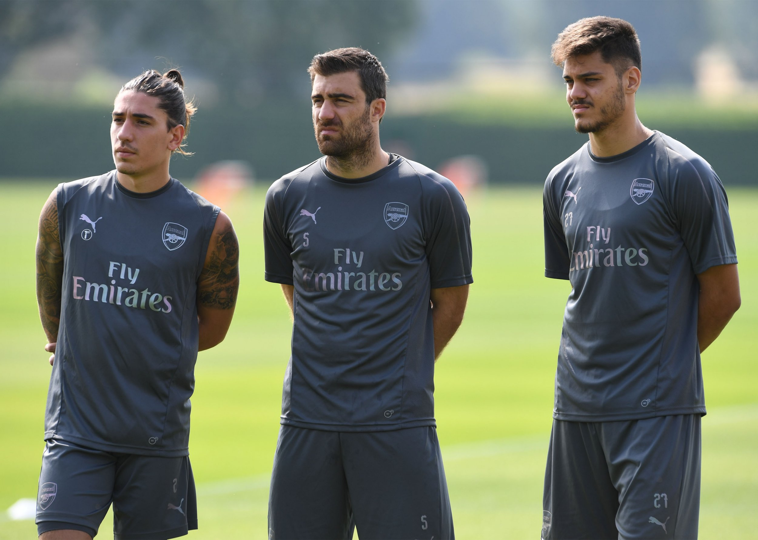 ST ALBANS, ENGLAND - JULY 05: Hector Bellerin, Sokratis Papastathopoulos and Konstantinos Mavropanos of Arsenal during pre-season training session at London Colney on July 5, 2018 in St Albans, England. (Photo by David Price/Arsenal FC via Getty Images)