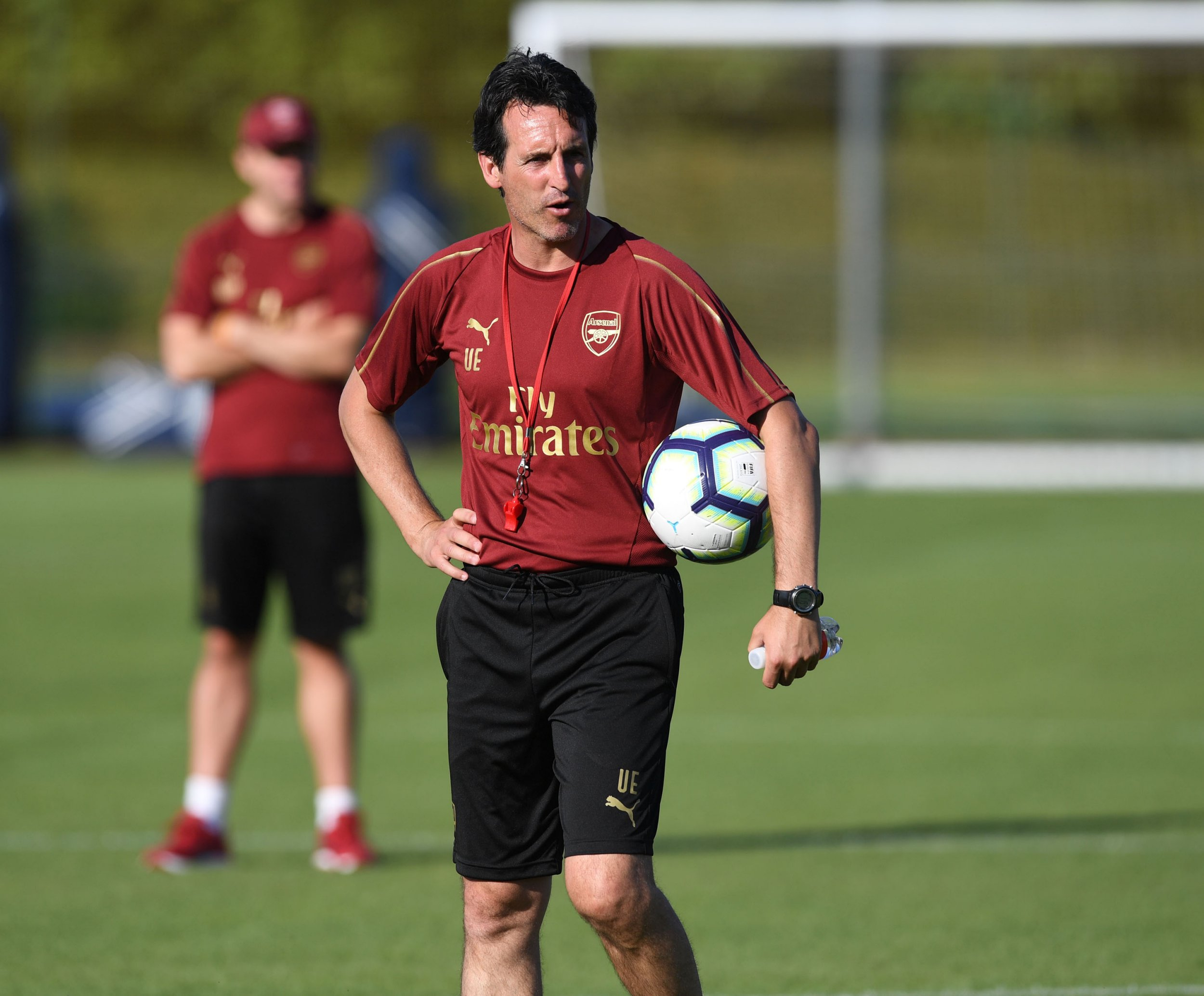 ST ALBANS, ENGLAND - JULY 05: Arsenal Head Coach Unai Emery during a training session at London Colney on July 5, 2018 in St Albans, England. (Photo by Stuart MacFarlane/Arsenal FC via Getty Images)