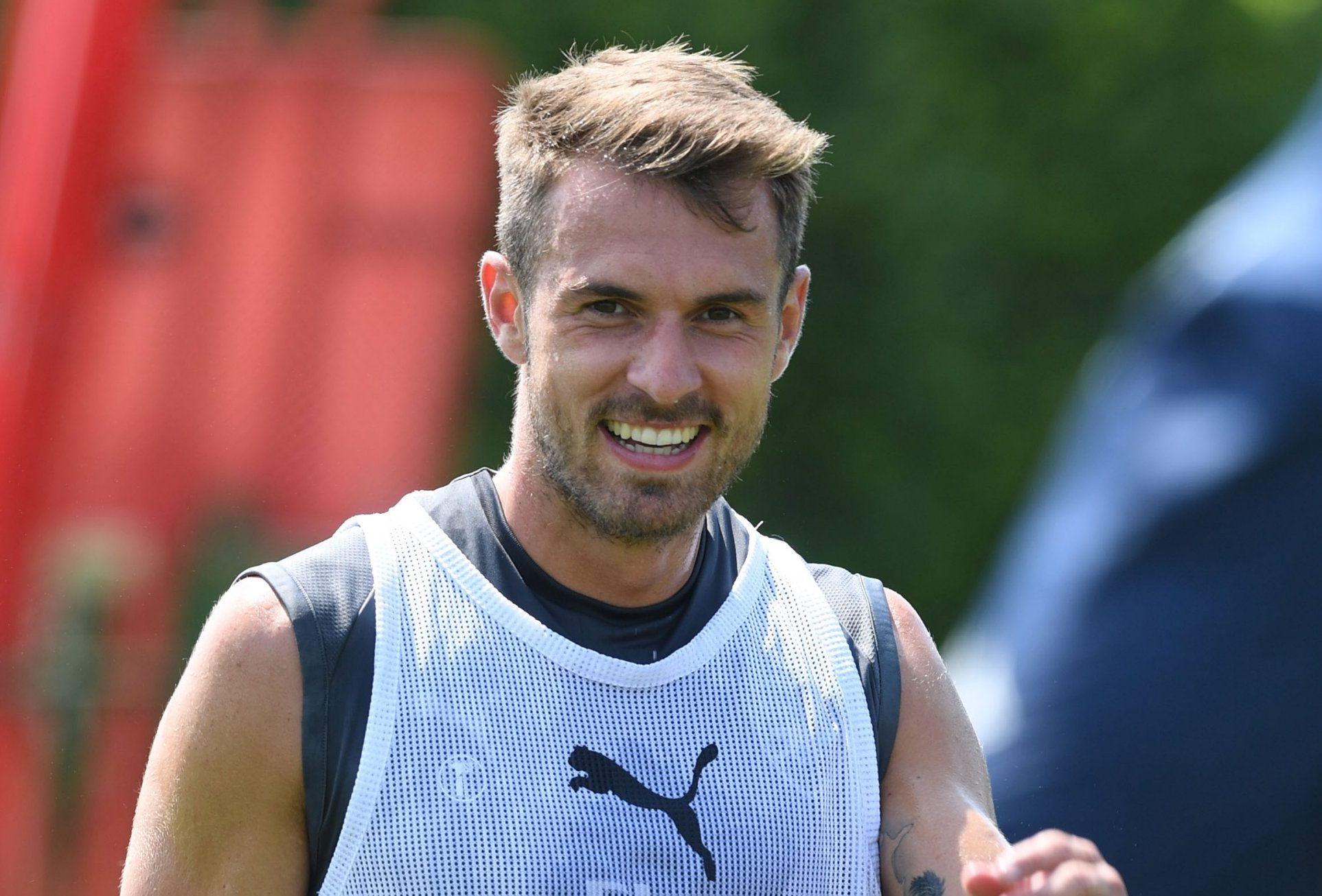 ST ALBANS, ENGLAND - JULY 06: Aaron Ramsey of Arsenal during a training session at London Colney on July 6, 2018 in St Albans, England. (Photo by Stuart MacFarlane/Arsenal FC via Getty Images)