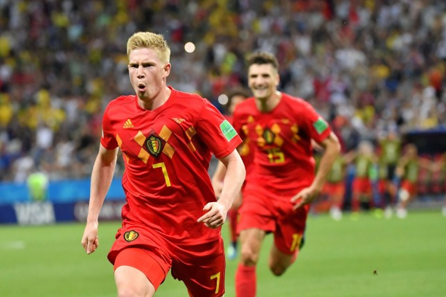 Belgium's midfielder Kevin De Bruyne celebrates after scoring his team's second goal during the Russia 2018 World Cup quarter-final football match between Brazil and Belgium at the Kazan Arena in Kazan on July 6, 2018. / AFP PHOTO / EMMANUEL DUNAND / RESTRICTED TO EDITORIAL USE - NO MOBILE PUSH ALERTS/DOWNLOADS EMMANUEL DUNAND/AFP/Getty Images
