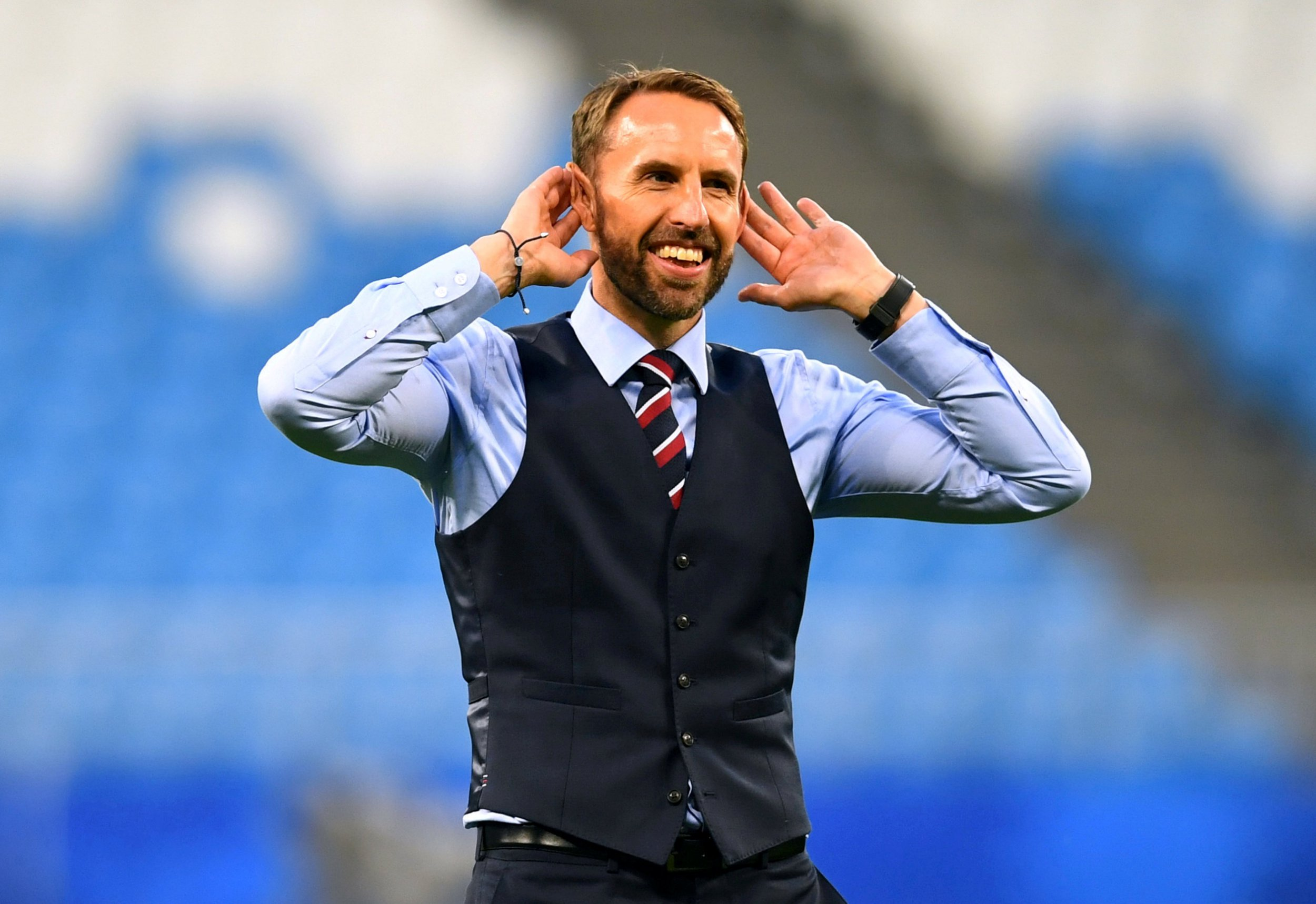 FILE PHOTO: World Cup - Quarter Final - Sweden vs England - Samara Arena, Samara, Russia - July 7, 2018 England manager Gareth Southgate salutes their fans after the match REUTERS/Dylan Martinez/File Photo