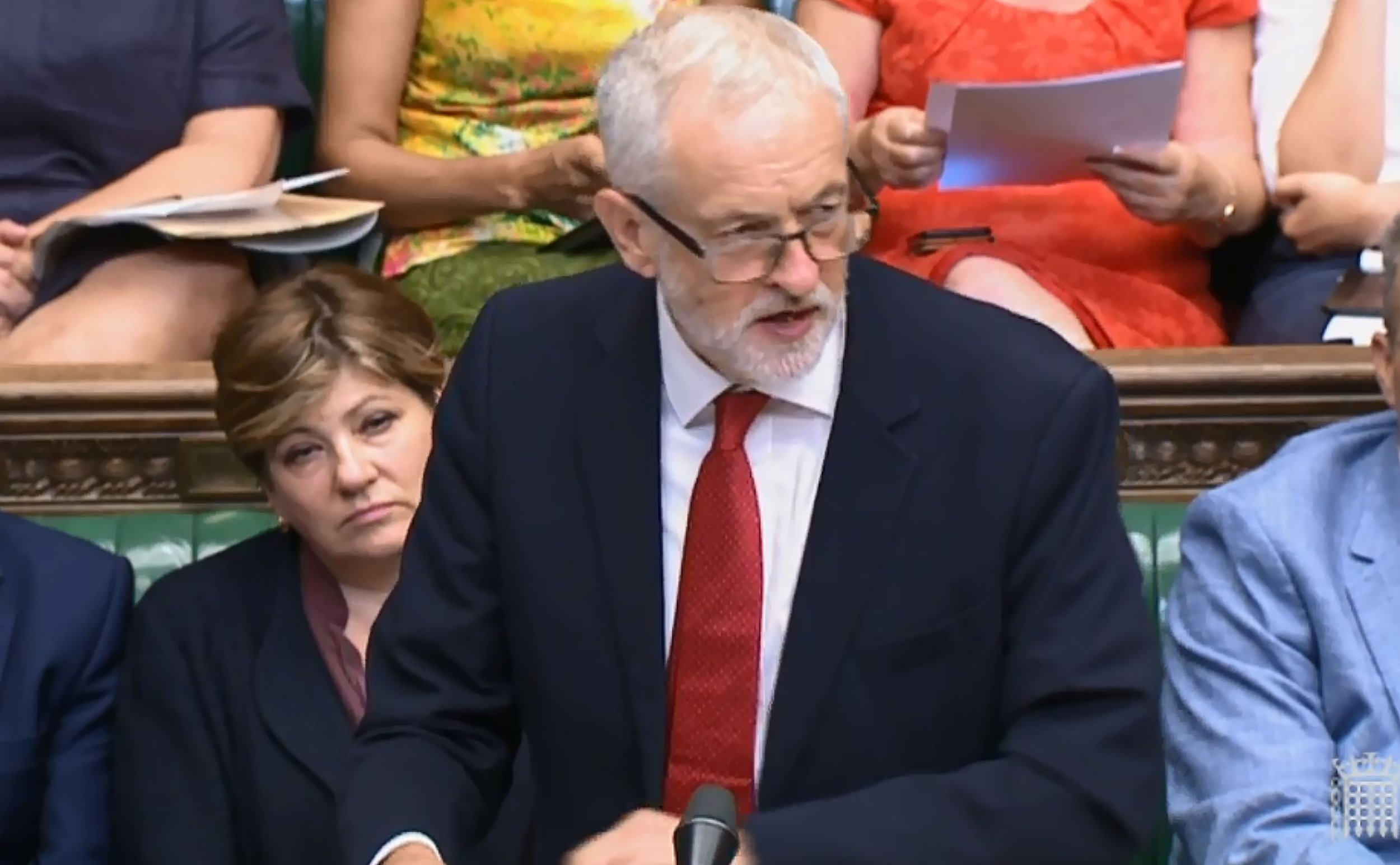 "A combination of video grabs from footage broadcast by the UK Parliament's Parliamentary Recording Unit (PRU) shows Britain's main opposition Labour party leader Jeremy Corbyn responded to the prime minister's statement on Brexit in the House of Commons in London on July 9, 2018. British Prime Minister Theresa May's government imploded on July 9 as Foreign Secretary Boris Johnson followed Brexit minister David Davis out the exit door over her masterplan for Britain's future outside the EU. / AFP PHOTO / PRU / HO / RESTRICTED TO EDITORIAL USE - NO USE FOR ENTERTAINMENT, SATIRICAL, ADVERTISING PURPOSES - MANDATORY CREDIT "" AFP PHOTO / PRU ""HO/AFP/Getty Images"