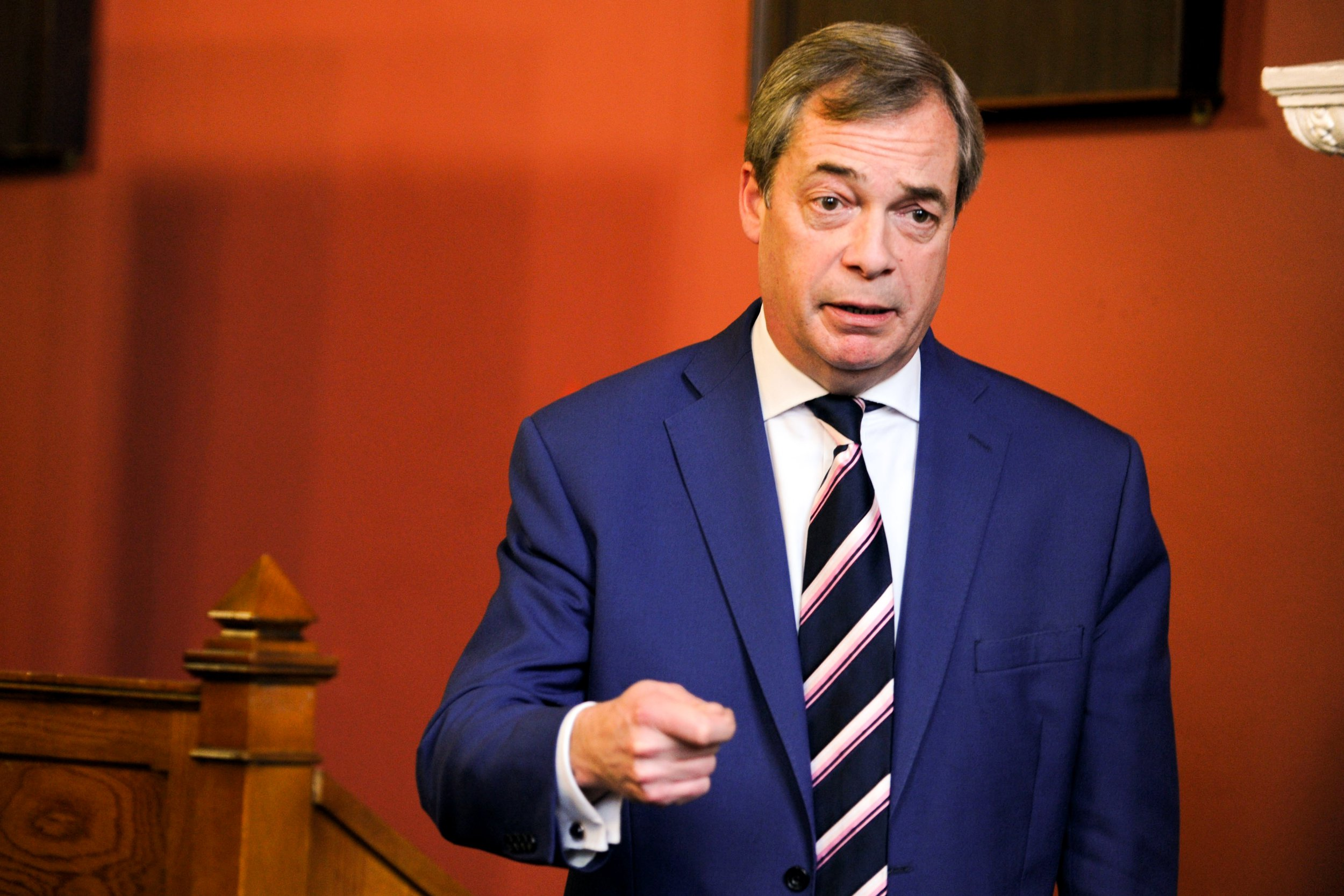 Nigel Farage, former leader of the U.K. Independence Party (UKIP), gestures as he speaks at Trinity College Dublin??in Dublin, Ireland, on Friday, Feb. 2, 2018. Farage is in Dublin to advocate Ireland following the U.K. out of the European Union. Photographer: Aidan Crawley/Bloomberg via Getty Images