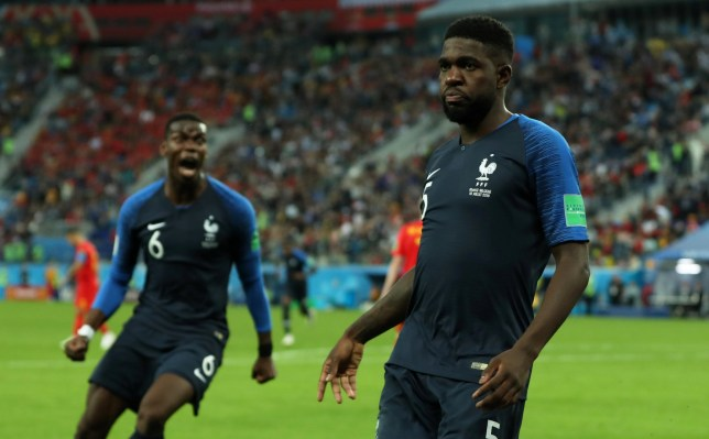 Soccer Football - World Cup - Semi Final - France v Belgium - Saint Petersburg Stadium, Saint Petersburg, Russia - July 10, 2018 France's Samuel Umtiti celebrates scoring their first goal with Paul Pogba REUTERS/Lee Smith