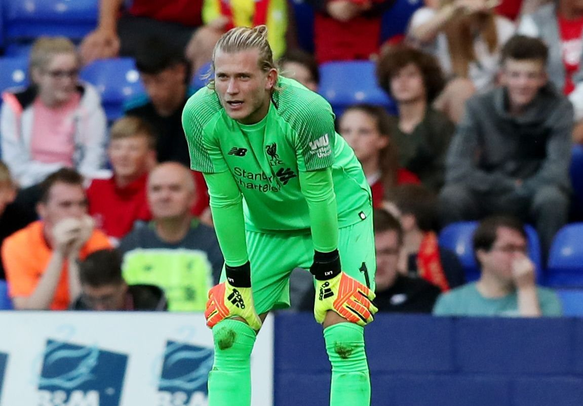 Mandatory Credit: Photo by Paul Currie/BPI/REX/Shutterstock (9754171t) Liverpool goalkeeper Loris Karius looks dejected after fumbling a free kick from Ollie Norburn of Tranmere Rovers leading to a goal Tranmere Rovers v Liverpool, Pre Season Friendly, Prenton Park , Tranmere - 10 Jul 2018
