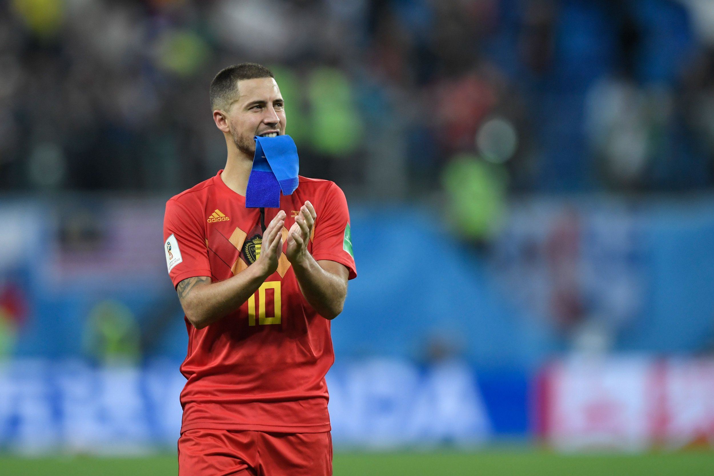 Belgium's forward Eden Hazard greets the fans after the Russia 2018 World Cup semi-final football match between France and Belgium at the Saint Petersburg Stadium in Saint Petersburg on July 10, 2018. France reached the World Cup final on Tuesday after a second-half header from Samuel Umtiti gave them a 1-0 win against Belgium. / AFP PHOTO / GABRIEL BOUYS / RESTRICTED TO EDITORIAL USE - NO MOBILE PUSH ALERTS/DOWNLOADS GABRIEL BOUYS/AFP/Getty Images