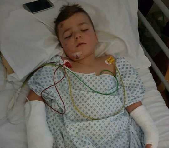 A mum has revealed the horrifying moment she found her nine-year-old son clinging onto life in hospital after falling 20ft through a skylight on a construction site. Rugby-mad Kieran Sainty, was left with a number of devastating injuries after falling from a box which had been hoisted up into the air. He broke his pelvis in two places, both of his wrists and arms, and he broke his jaw. He also had internal bleeding in his liver, a haematoma on his kidney and was left with a number of shattered teeth. His mum, Joanne Sainty, was not with him at the time of the accident but received a phone call telling her what had happened. She arrived at Hull Royal Infirmary to find her son's head in a brace and him drifting in and out of consciousness as doctors told her he was in intensive care and fighting for his life.