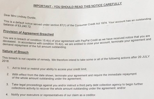PayPal sends widowed man letter saying wife 'breached