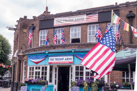 Alamy Live News. P8CPHG London, UK. 10th July 2018: The Jamesons Pub in west Kensington changes its name to 'The Trump Arms' to support the visit of the US president. Credit: William Barton. Credit: William Barton/Alamy Live News This is an Alamy Live News image and may not be part of your current Alamy deal . If you are unsure, please contact our sales team to check.