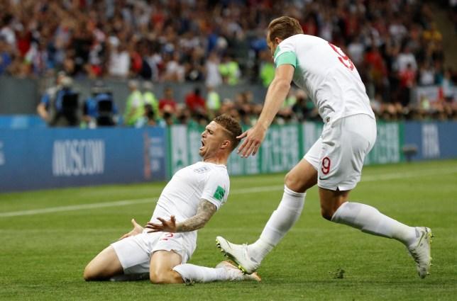 Soccer Football - World Cup - Semi Final - Croatia v England - Luzhniki Stadium, Moscow, Russia - July 11, 2018 England's Kieran Trippier celebrates scoring their first goal with Harry Kane REUTERS/Darren Staples