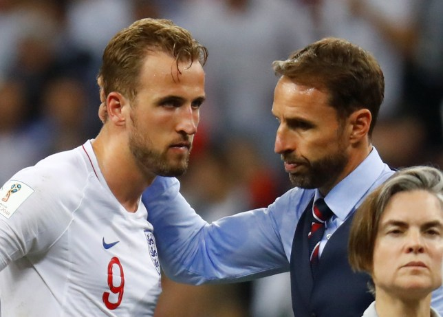 Soccer Football - World Cup - Semi Final - Croatia v England - Luzhniki Stadium, Moscow, Russia - July 11, 2018 England manager Gareth Southgate with Harry Kane at the end of the match REUTERS/Kai Pfaffenbach