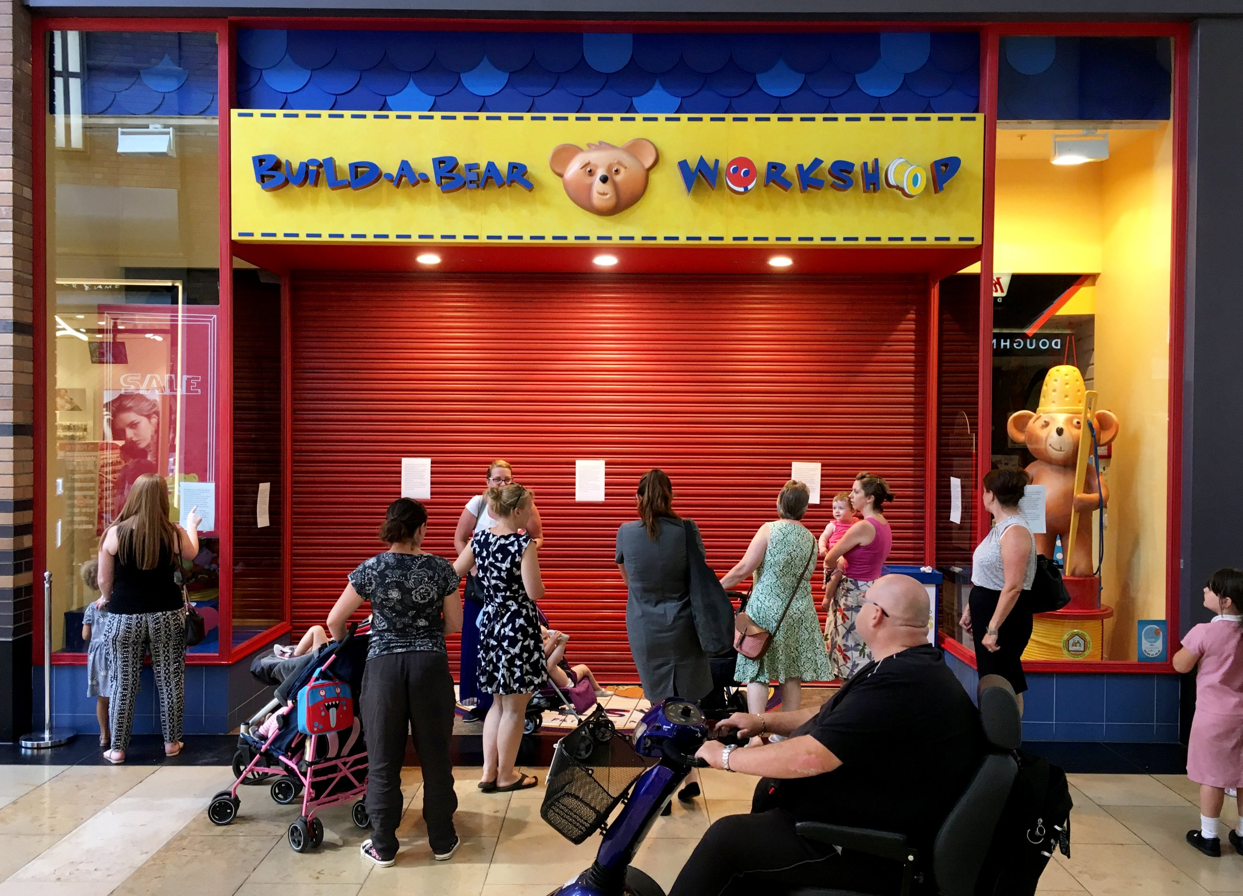 The Build-A-Bear Workshop in the Touchwood Shopping Centre, Solihull, West Midlands has had to close due to the unprecidented demand during their 'pay your age' sale where ?50 teddies were being sold for just a few pounds. See ROSS PARRY story RPYBEARS. July 12, 2018.
