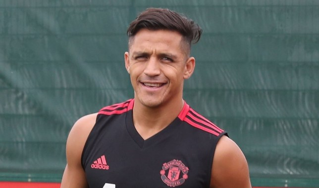 MANCHESTER, ENGLAND - JULY 13: (EXCLUSIVE COVERAGE) Alexis Sanchez of Manchester United in action during a first team training session at Aon Training Complex on July 13, 2018 in Manchester, England. (Photo by John Peters/Man Utd via Getty Images)